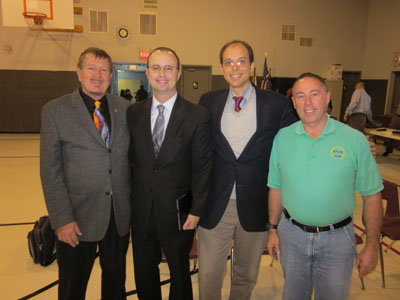Dale McCormack, Mayor Larry Morrissey, Nick Poplawski, and Dave Merrill