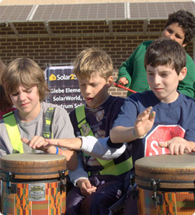 5th graders at Glebe Elementary drumming under the new SolarWorld solar awing