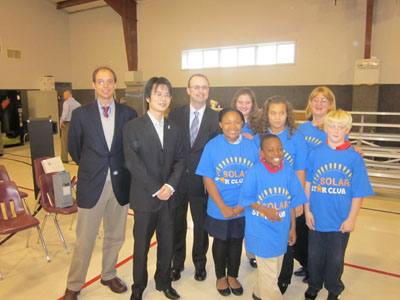 Nick Poplawski, Mr Shu Hong,  Mayor Larry Morrissey, and Allegro Academy Students